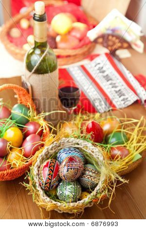 Easter Colorful Eggs With Wine Glass And Bottle