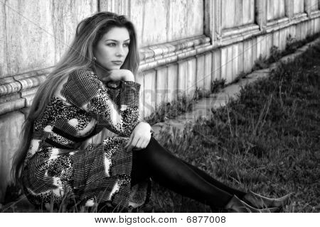 Sad Alone Pensive Woman Outdoor