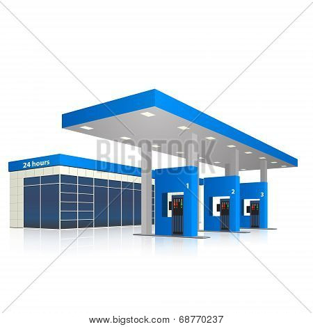 Petrol Station With A Small Shop And Reflection
