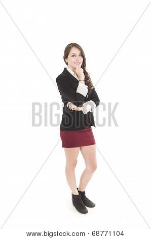 young girl wearing red skirt and black jacket posing
