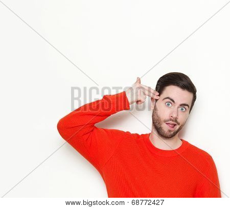 Man Pointing Finger Gun Gesture To Head