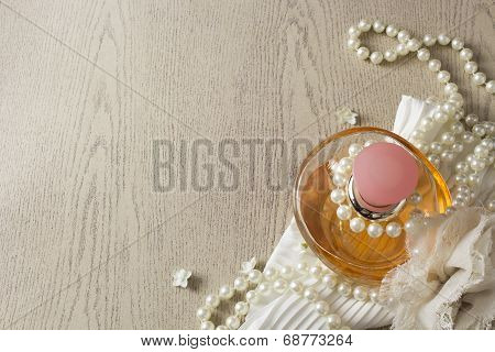 Elegance Perfume Bottle with white pearls