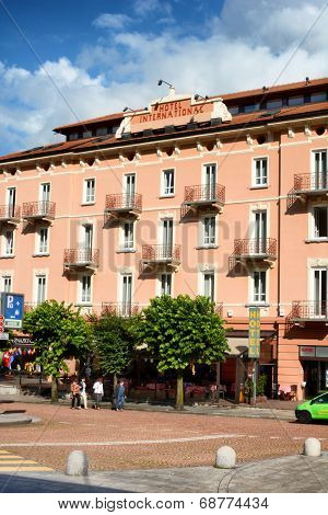BELLINZONA, SWITZERLAND - JULY 4, 2014: The Hotel International, Bellinzona. The hotel offers luxury accommodations and is centrally located near the train station and famous landmarks.