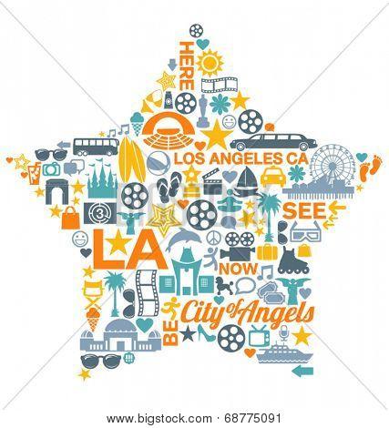 Los Angeles California icons symbols landmarks