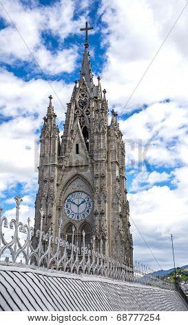 Steeple of the Basilica Church in Quito, Ecuador