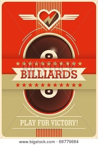 Billiards poster design. Vector illustration.