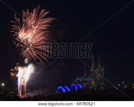 Firework In Front Of The Cathedral