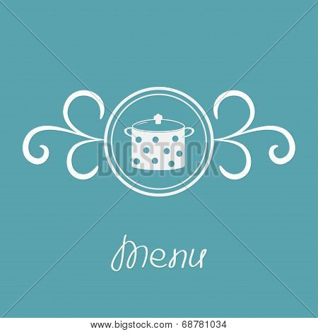 Saucepan With Dots And Round Frame Calligraphic Design Element.