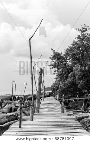 Empty Wooden Pier On Tropical Island, Color Filter Applied