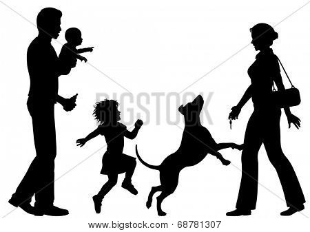 Editable vector silhouettes of a woman welcomed home by husband, children and dog with all figures as separate objects