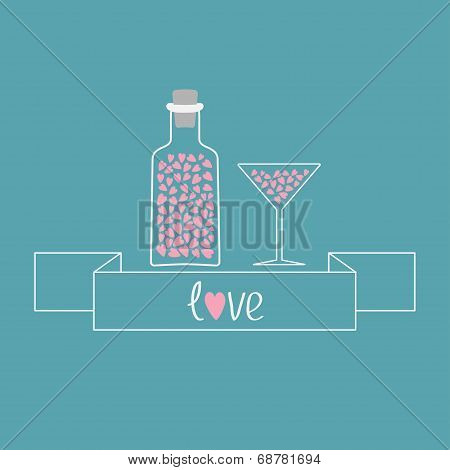 Martini Glass And Bottle With Hearts Inside. Ribbon Word Love.