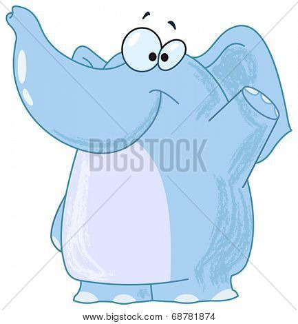 Smiling elephant waving with his hand