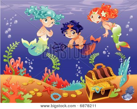 Baby Sirens and Triton with background.
