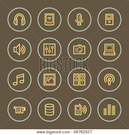 Media web icons set, coffee series