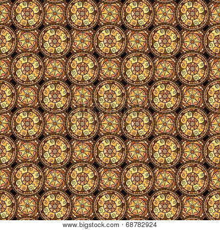 Seamless Pattern. Evenly Spaced Circles With Decorative Swirls. Drawn By Hand. Vector Background In