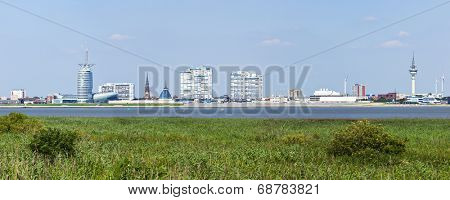 Skyline of Bremerhaven and the Weser river