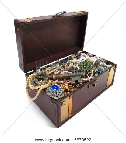 Treasure Chest With Valuables And Key