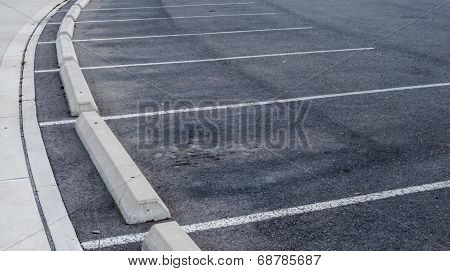 Curved Parking Spaces And Curbs.