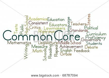 Common Core Word Cloud on White Background