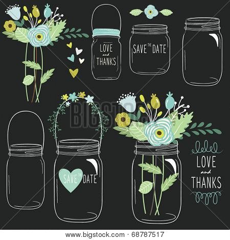 Hand Draw Chalkboard retro Wedding flower Jar