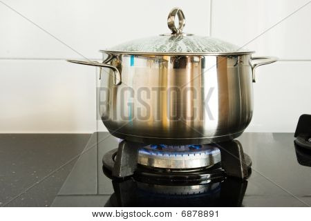 Cooking Pan On Gas Burner