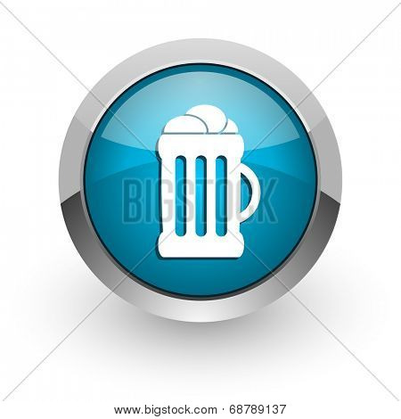 beer blue glossy web icon