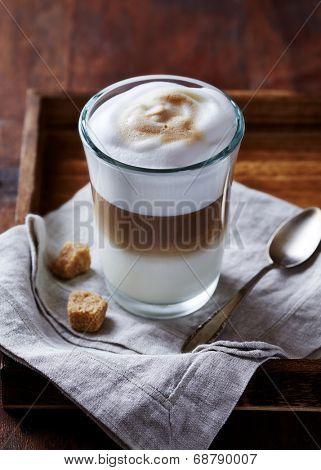Glass of Latte Macchiato on a Tray