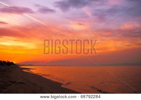 Sky and clouds over sea at sunset