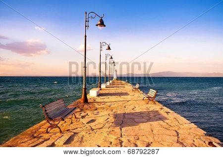 Pier in the evening - Pefkohori, Greece