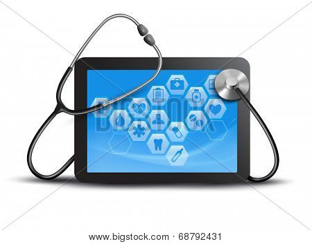 Tablet screen with medical icons and stethoscope