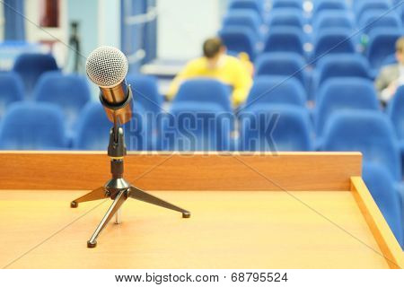 microphone on a panel table