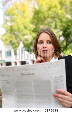 Pretty Business Woman Reading