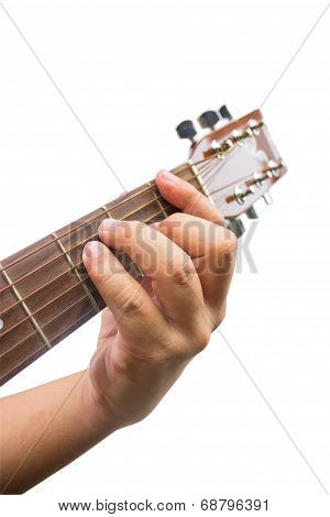 The Guitarist Show The F Chord On The Guitar Isolated On White Background.