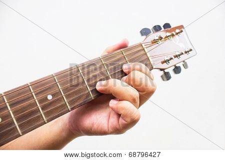 The Guitarist Show The D Chord On The Guitar Isolated On White Background.