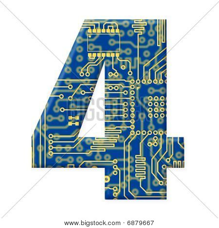 Digit From Electronic Circuit Board Alphabet On White Background - 4