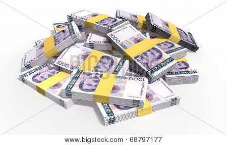 Norwegian Krone Notes Scattered Pile