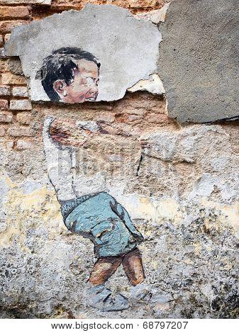 Street Art Painting In Georgetown, Penang, Malaysia