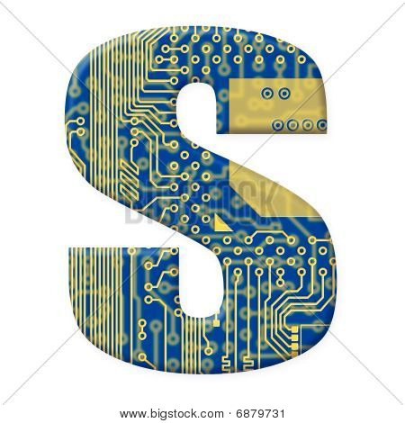 Letter From Electronic Circuit Board Alphabet On White Background - S
