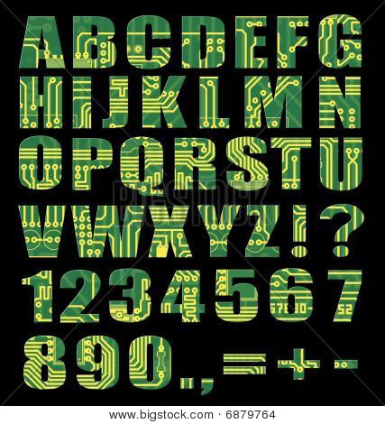 Electronic Alphabet With Letters And Digits From Circuit Board
