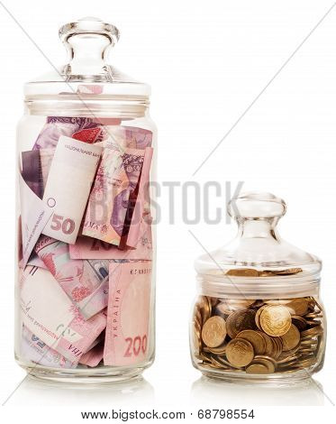 Money in glass jars