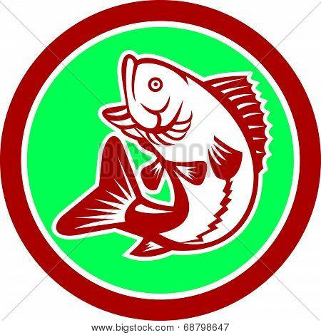 Largemouth Bass Jumping Circle Retro