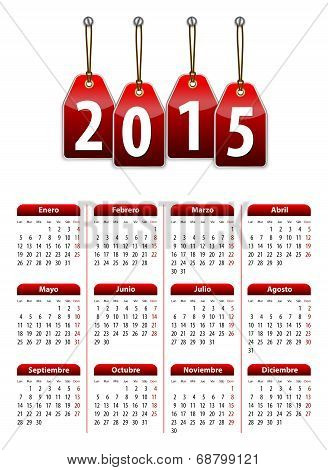 Spanish Calendar For 2015 Year With Red Hanging Glossy Tags