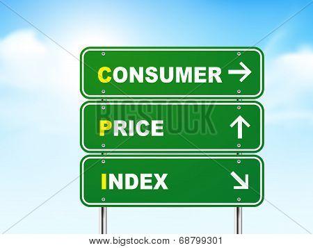 3D Consumer Price Index Road Sign