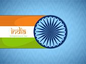 pic of ashoka  - Indian Independence Day celebrations concept with Ashoka Wheel and national flag on blue background - JPG