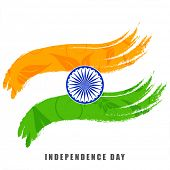 picture of indian independence day  - Indian Independence Day celebrations concept with national flag colors with ashoka wheel on white background - JPG