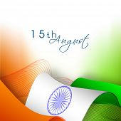 stock photo of ashoka  - Indian Independence Day greeting card design with waves and ashoka wheel - JPG