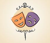 stock photo of pantomime  - Comedy and tragedy theater masks - JPG