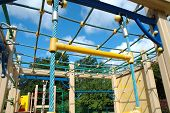 picture of playground school  - Colorful toys on playground nearby primary school - JPG