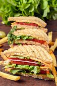 picture of french-toast  - Club toast sandwiches and french fries - JPG