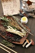 foto of hieroglyphic symbol  - Traditional chinese herbal medicine ingredients with not real hieroglyphs - JPG